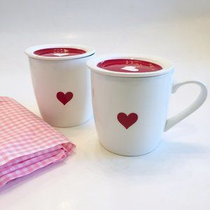 Whimsical Red Heart Print Mugs With Lid Set Of 2